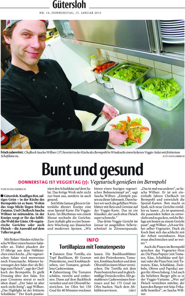 """Zeitungsartikel der NW: """"Bunt und gesund"""" vom 17.01.2013"""