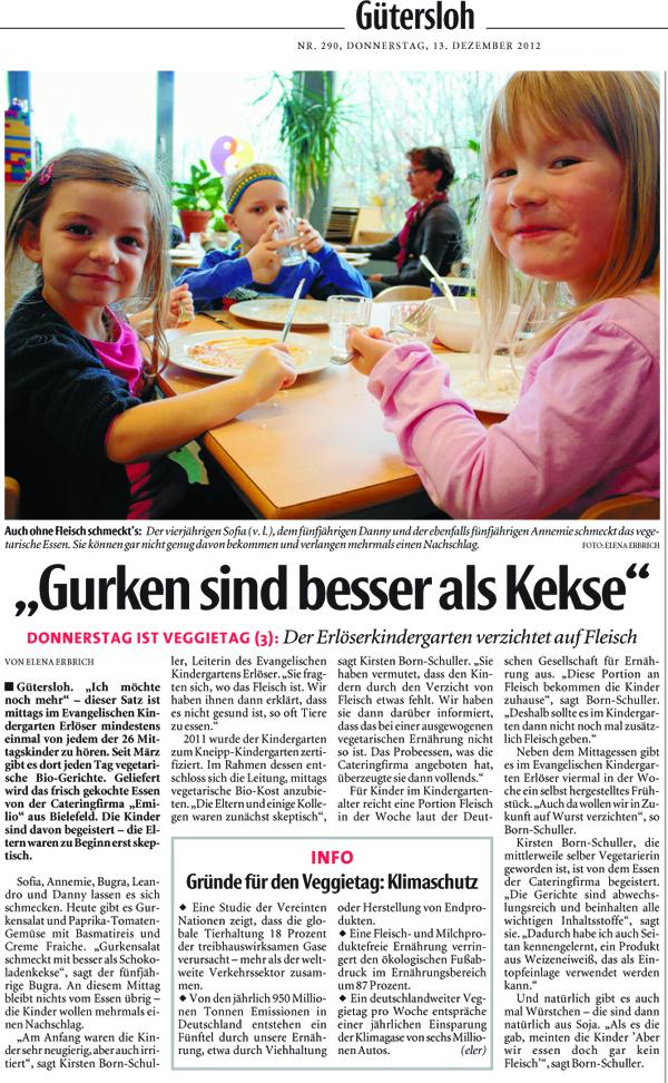 """Arikel-Scan des Zeitungsartikel """"Gurken sind besser als Kekse"""" der Neuen Westfälischen"""
