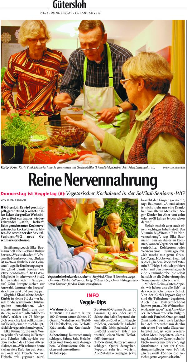 """Zeitungsartikel der NW: """"Reine Nervennahrung"""" vom 10.01.2013"""
