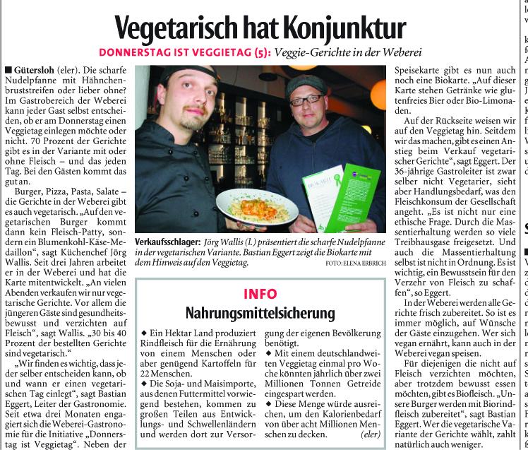 """Zeitungsartikel der NW: """"Vegetarisch hat Konjunktur"""" vom 03.01.2013"""